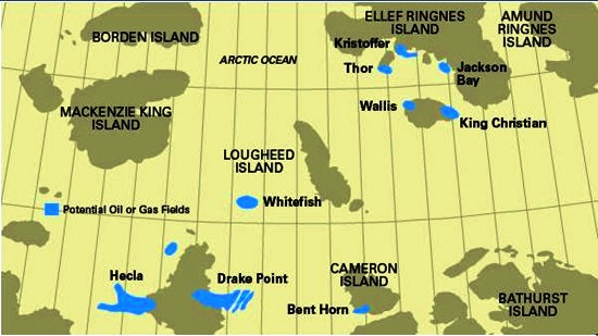 Major gas fields discovered by PanArctic in Canada's High Arctic.